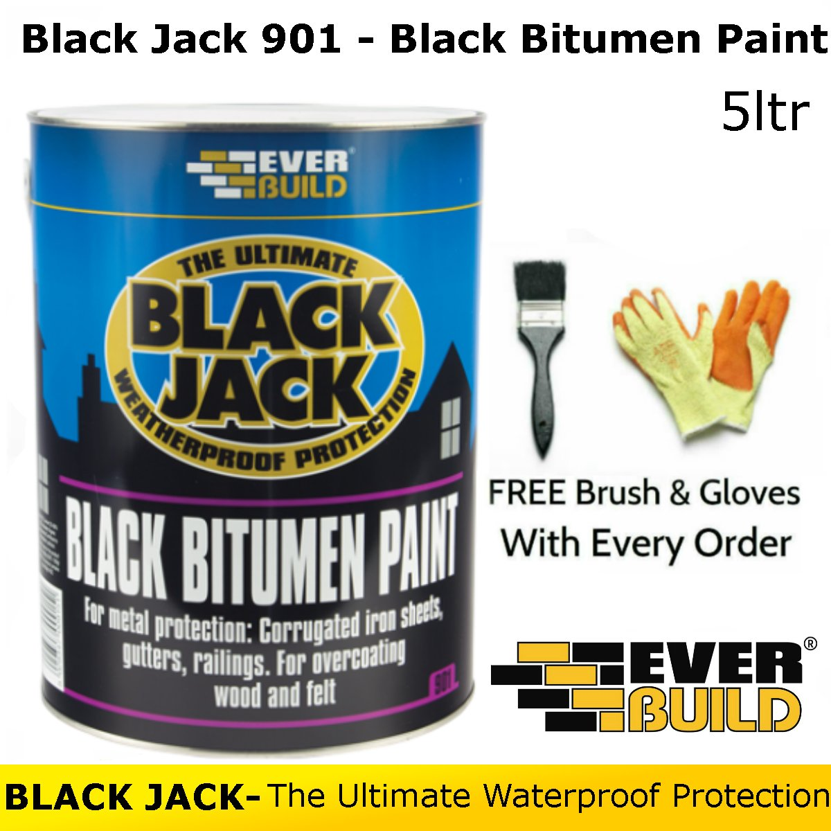 Black Jack 901 | Black Bitumen Paint | By Everbuild | FREE Brush and Gloves | 5 Litres
