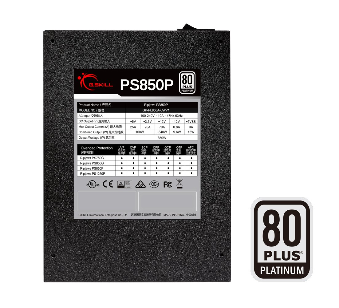 G.Skill GP-PL850A-CWV1 Ripjaws PS850P 850W 80+ Platinum Full Modular Intel/AMD Ready Gaming PC ATX 12V Power Supply by G.Skill (Image #2)