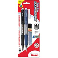 Pentel Twist-Erase Express Automatic Pencil with Lead and Eraser, 0.5mm, Assorted Barrels, 2 Pack (QE415LEBP2)