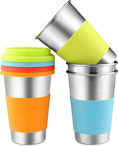 Stainless Steel Cups Kids and Toddlers Drinking Pint Tumblers Camping Travel