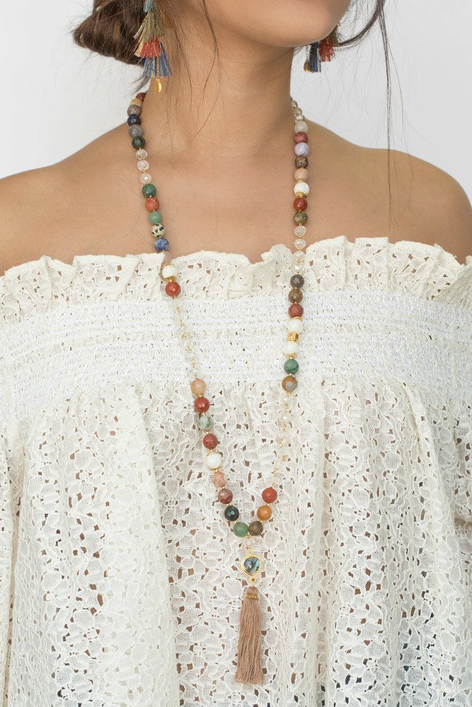 Chan LUU Multi Tassel Long Necklace with Semi-Precious Stones by Chan Luu Authorized Reseller (Image #3)