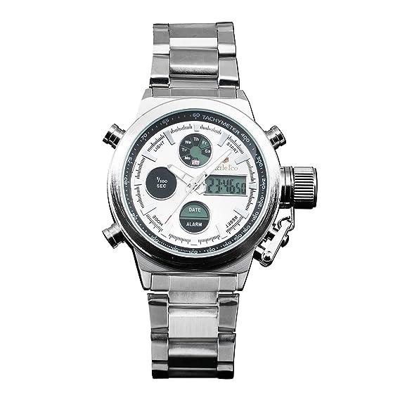 Cuarzo Digtial Plata Para Hombre del Reloj Acero Inoxidable ...