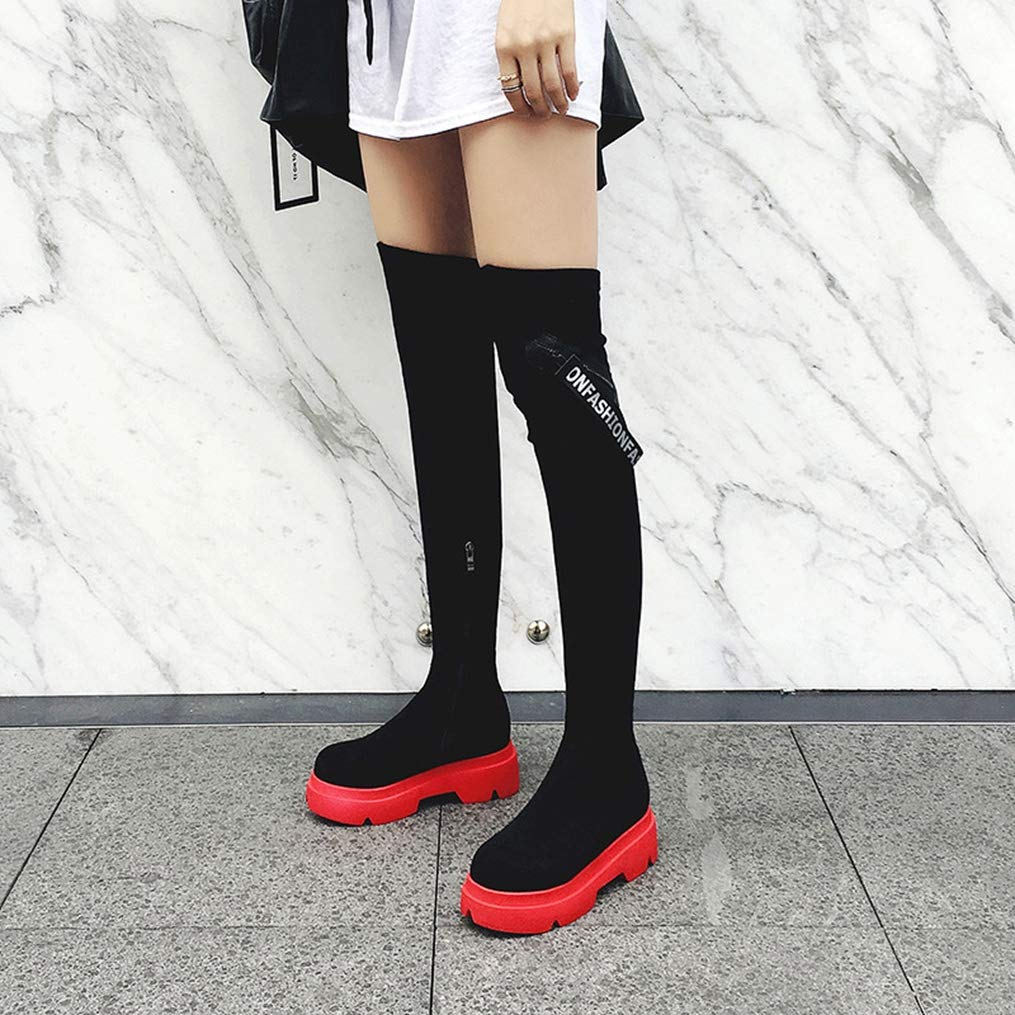 Winter Women Fashion Over The Knee Boots Round Toe Zipper Cross-Tied Faux Suede Short Plush Platform Shoes