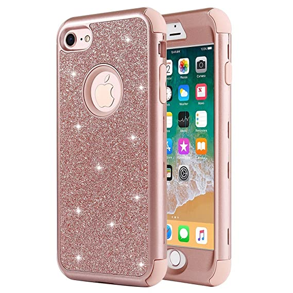 new style abe7d 3e3ce iPhone 8 Case, iPhone 7 Case, Anuck Heavy Duty iPhone 8 Shockproof  Protective Case [Sparkly Glitter Texture] 3 in 1 Hybrid Armor Defender  Cover Case ...