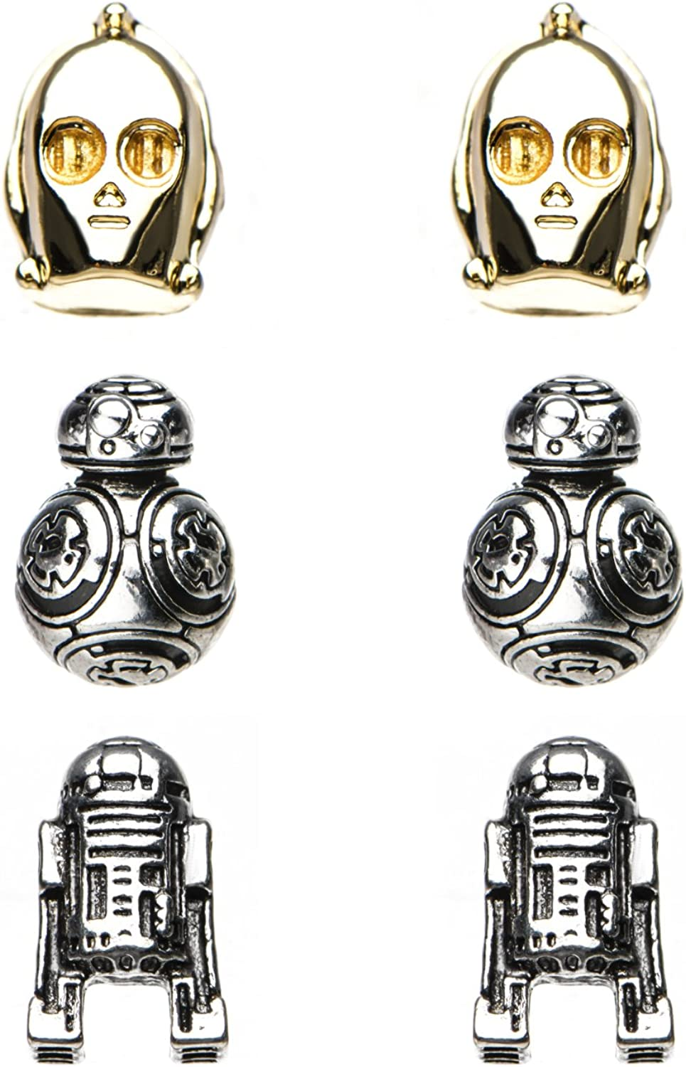 Star Wars Jewelry Unisex Adult Episode 8 BB-8, C-3PO and R2-D2 Stud Earrings Set, Gold/Silver, One Size
