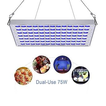 TOPLANET 75W Lampara de Cultivo Luces para Acuarios Azul Blanco Uso Dual para Jardín de Interior
