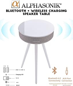 Alphasonik Decor Modern Home Portable Bluetooth Speaker 360 Surround HD Sound with 10 Speakers Drivers Built-in Qi Wireless Charger Dual USB AUX Inputs End Table Coffee Table Night Stand