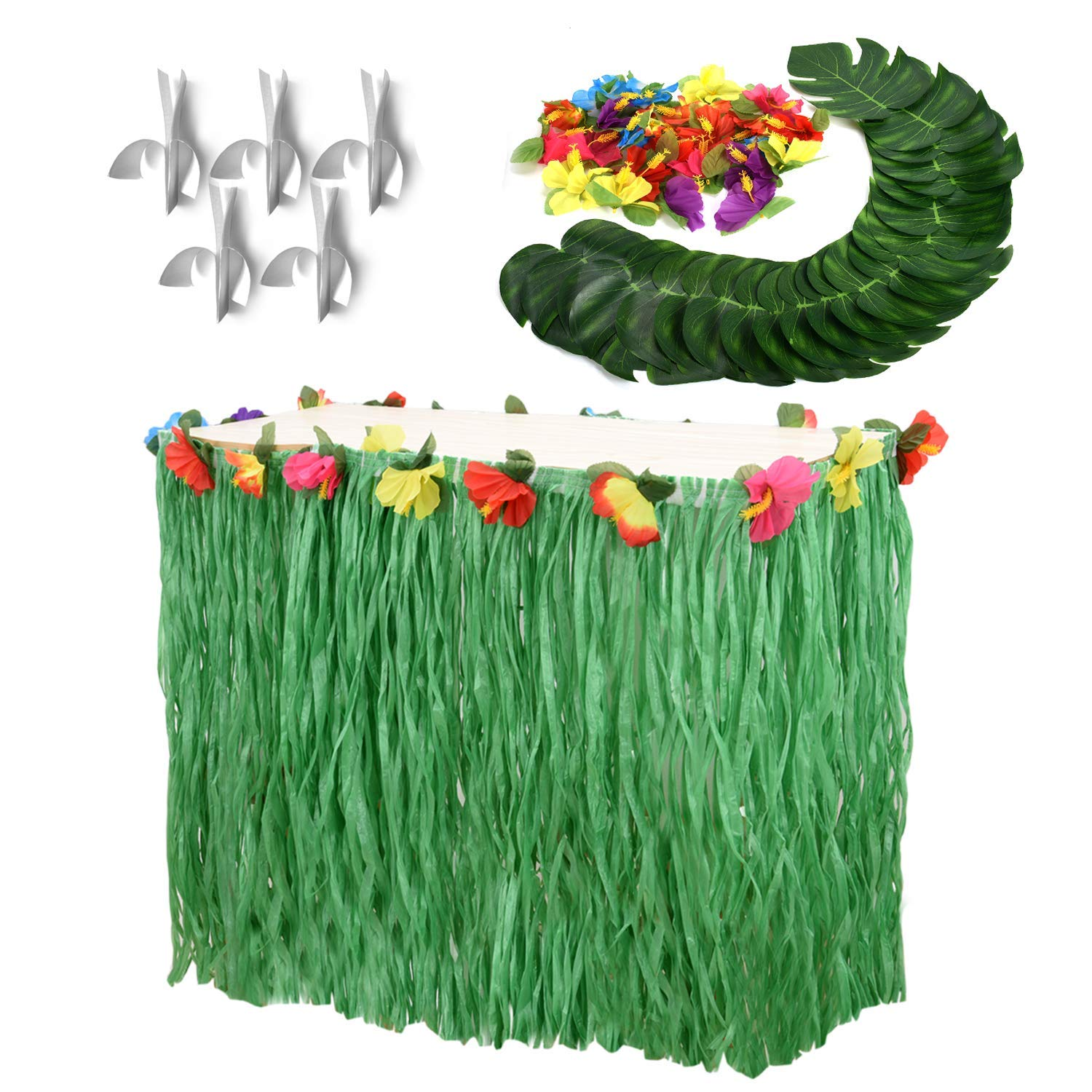 Moana Party Supplies Set-1 Pack Grass Table Skirt 9ft,24 Pcs Tropical Faux Palm Leaves,24 Pcs Hibiscus Flowers with 5Pcs Adhesive Hook & Loop for Hula, Luau, Maui, Hawaiian, Moana Themed Party by CWLAKON