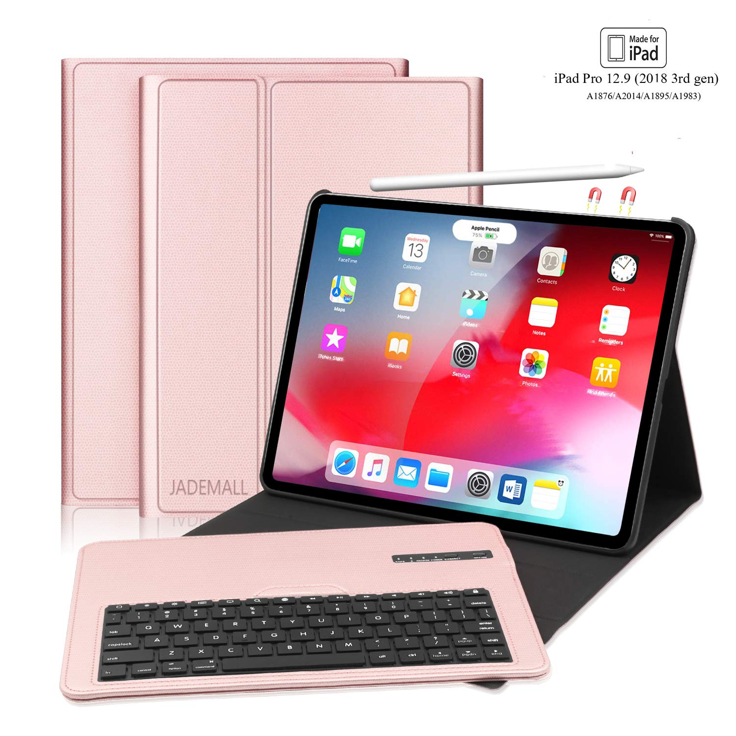 iPad Pro 12.9 Keyboard Case for Pro 12.9 Inch 2018(3rd Gen), Detachable Wireless Keyboard Stand Folio Cover, and Strong Magnetic Stand Folio Case, Support Pencil Charging, Auto Wake/Sleep, Rose Gold