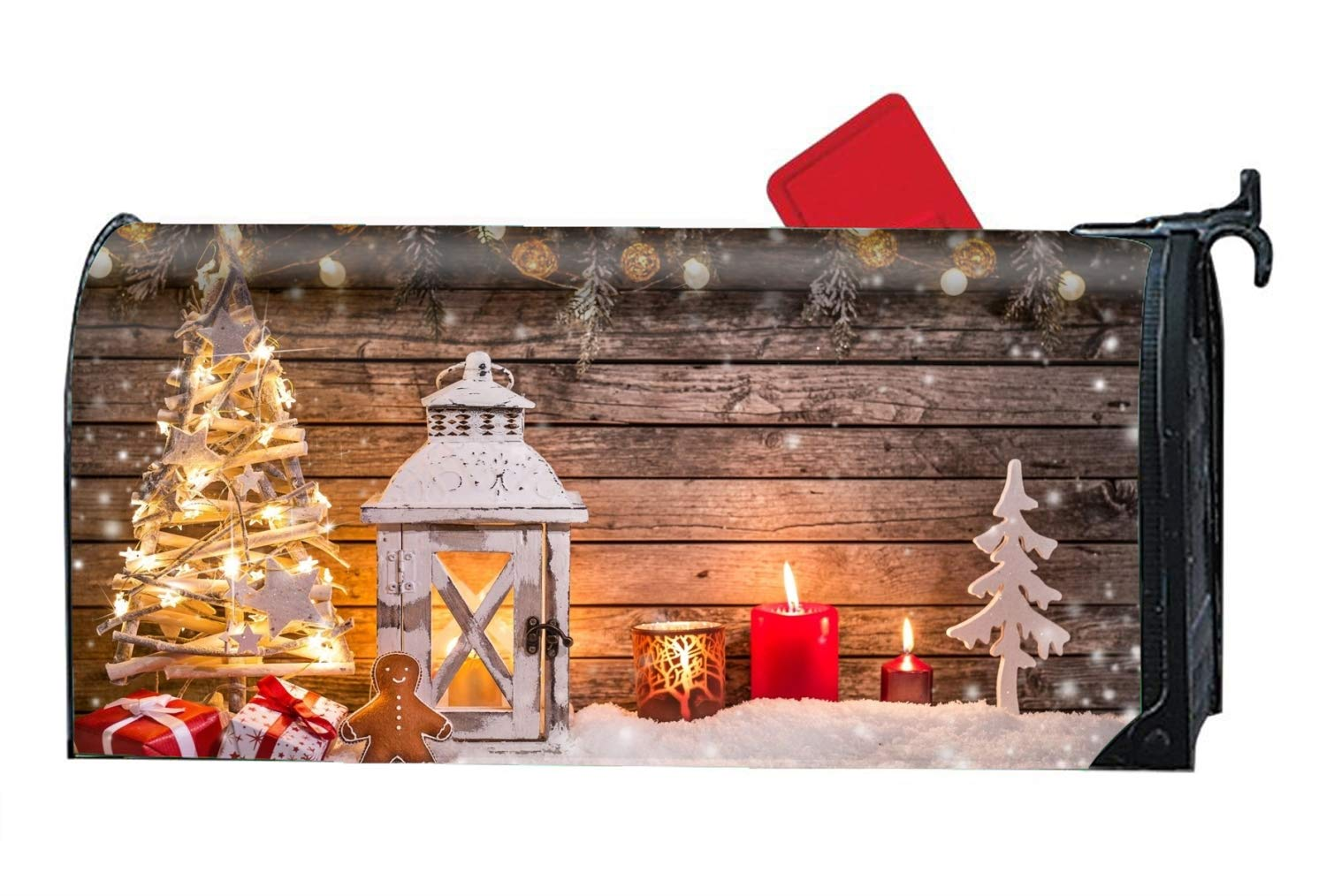 Una Stowe Mailbox Makeover Vinyl Magnetic Mailbox Cover Christmas New Year Toys Fir-Tree Lamp Snow