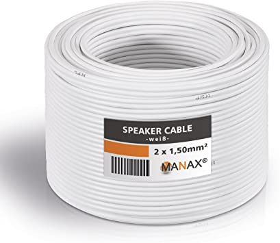 Manax Lautsprecherkabel 2 X 1 5mm Weiß 20 M Ring Elektronik