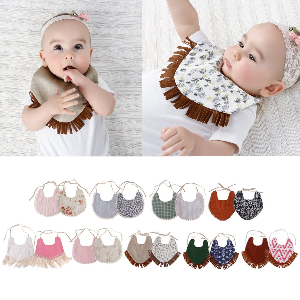 Baby Double-Sided Printing Tassel Saliva Towel Bandana Triangle Bibs Head Scarf