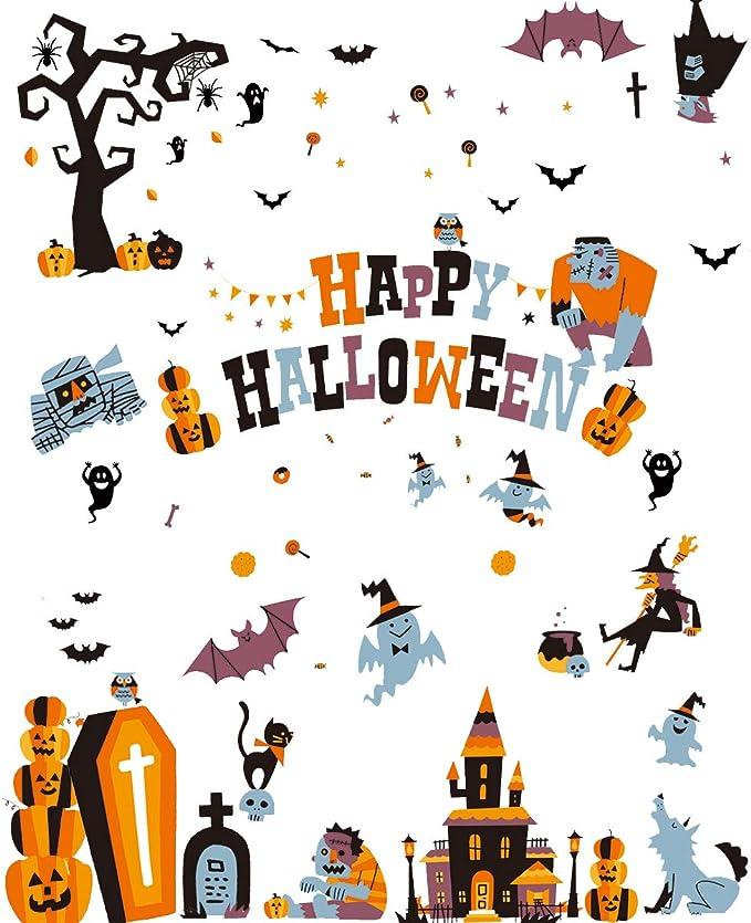 KINBOM 97 Piezas Adhesivos para Ventanas De Halloween Murci/élagos Negros Reutilizables Ara/ñas Adhesivos para Ventanas Pegatinas para Suministros De Fiesta De Halloween
