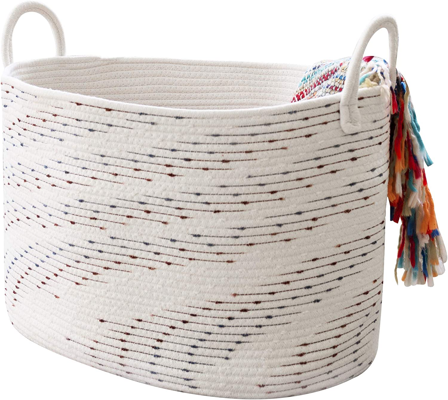 """LA JOLIE MUSE Large Cotton Rope Blanket Basket, Soft Woven Laundry Basket for Blankets, Toys, Clothing, Decorative Baskets for Living Room, Nursery Storage, 21""""(L) x 15""""(W) x 13""""(H), Oval"""