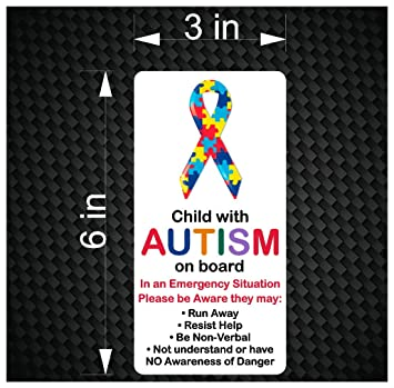 Child with autism on board emergency awareness car vinyl bumper sticker decal