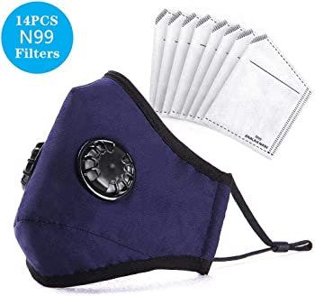 Analan Reusable Washable Dust Mask with 14-Piece N99 Filters