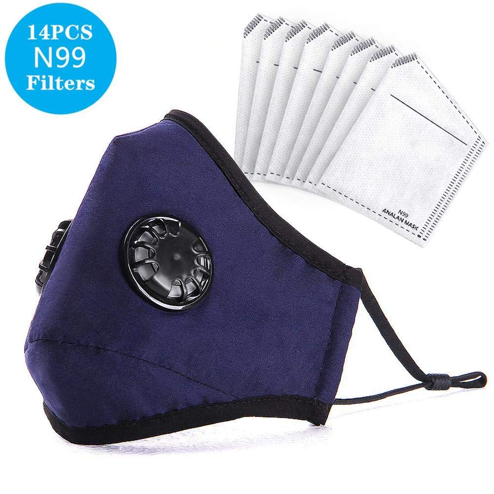 ANALAN Dust Masks Reusable Washable Face Mask Air Masks For Dust Smoke Pollen With N99 Filters (Old Blue,14pcs Filter)