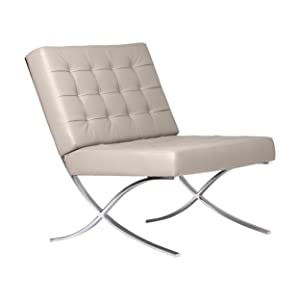 Studio Designs Home Modern Atrium Accent Chair Lounge Chair for Living Room, Bedroom, Bonded Leather, Mushroom, 72006