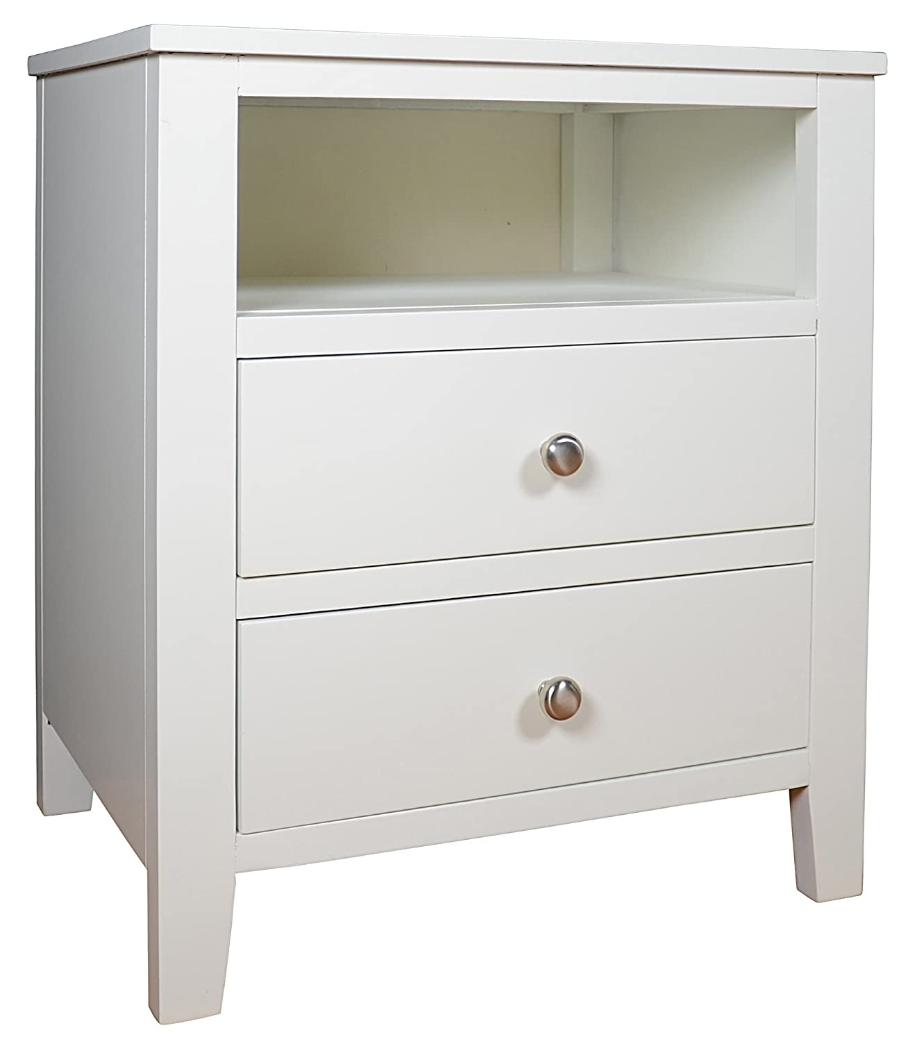 White bedside table - Brooklyn White Bedside Table With 2 Drawers And Shelf Metal Runners Dovetail Joints Assembled Amazon Co Uk Kitchen Home