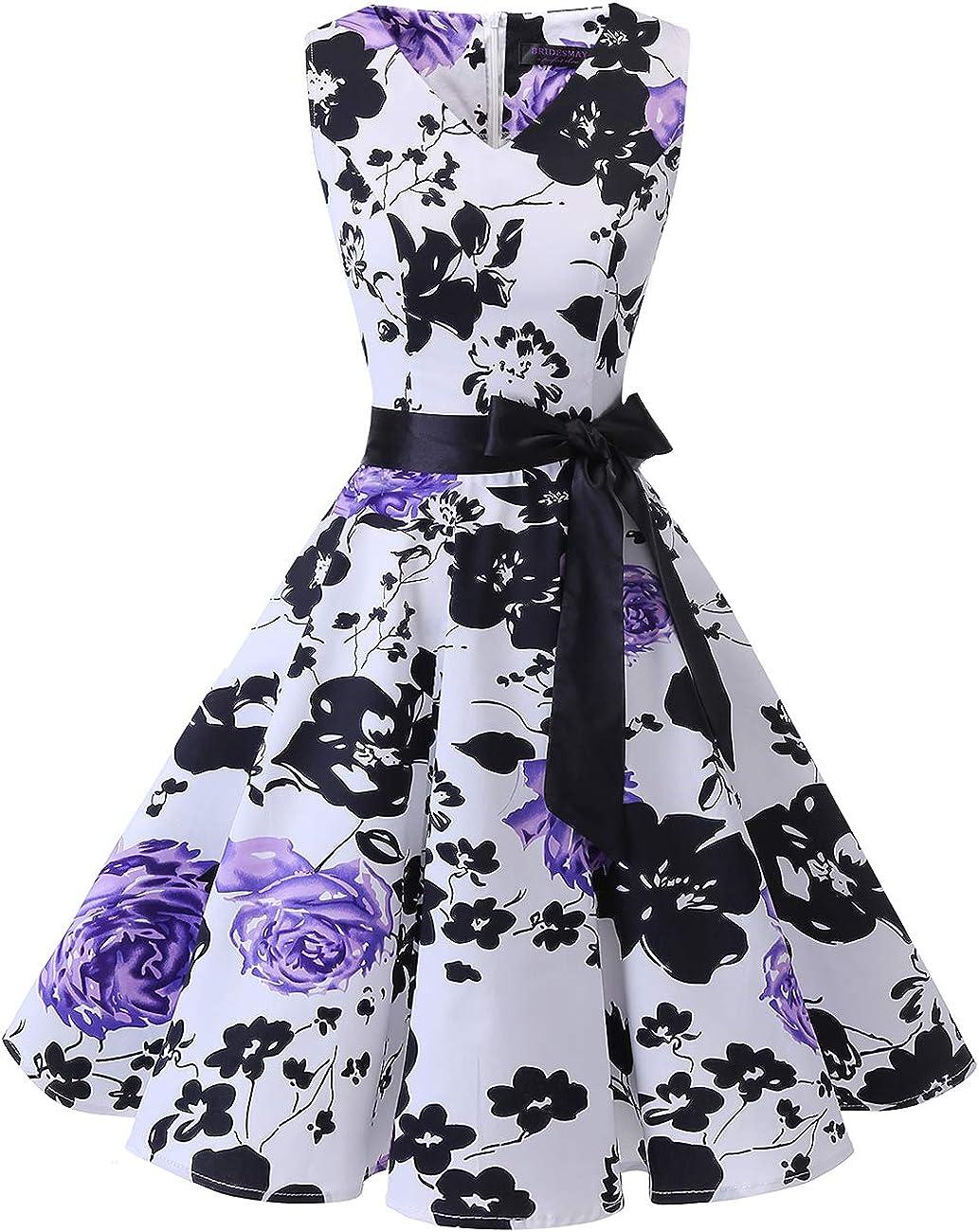TALLA 3XL. Bridesmay Vestido de Cóctel Fiesta Mujer Verano Años 50 Vintage Rockabilly Sin Mangas Pin Up White Purple Flower 3XL