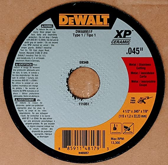 DEWALT DWA8957L XP Ceramic Type 27 Metal//Stainless Cutting Wheel 4-1//2 x 1//16 x 7//8 4-1//2 x 1//16 x 7//8