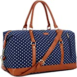BAOSHA HB-14 Canvas Travel Tote Duffel Bag Carry on Weekender Overnight Bag Oversized for Women and Ladies (Blue Dot)