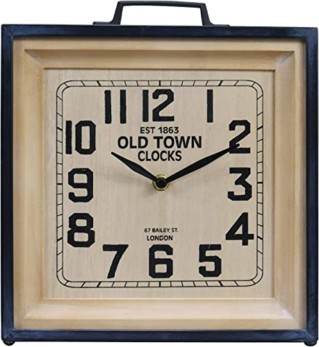 NIKKY HOME 12 Inch Shabby Chic Old Town Table Clock