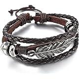 MunkiMix Alliage Cuir Bracelet Bracelet Menotte Ton d'Argent Noir Brun Ange Aile Plume Réglable Convient 7~9 Pouce Homme,Femme