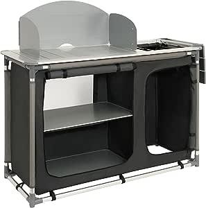 Armario para cocina de acampada con estructura de aluminio, protección contra salpicaduras y lavabo de CampFeuer, aprox. 117 x 50 x 111 cm (largo x ...