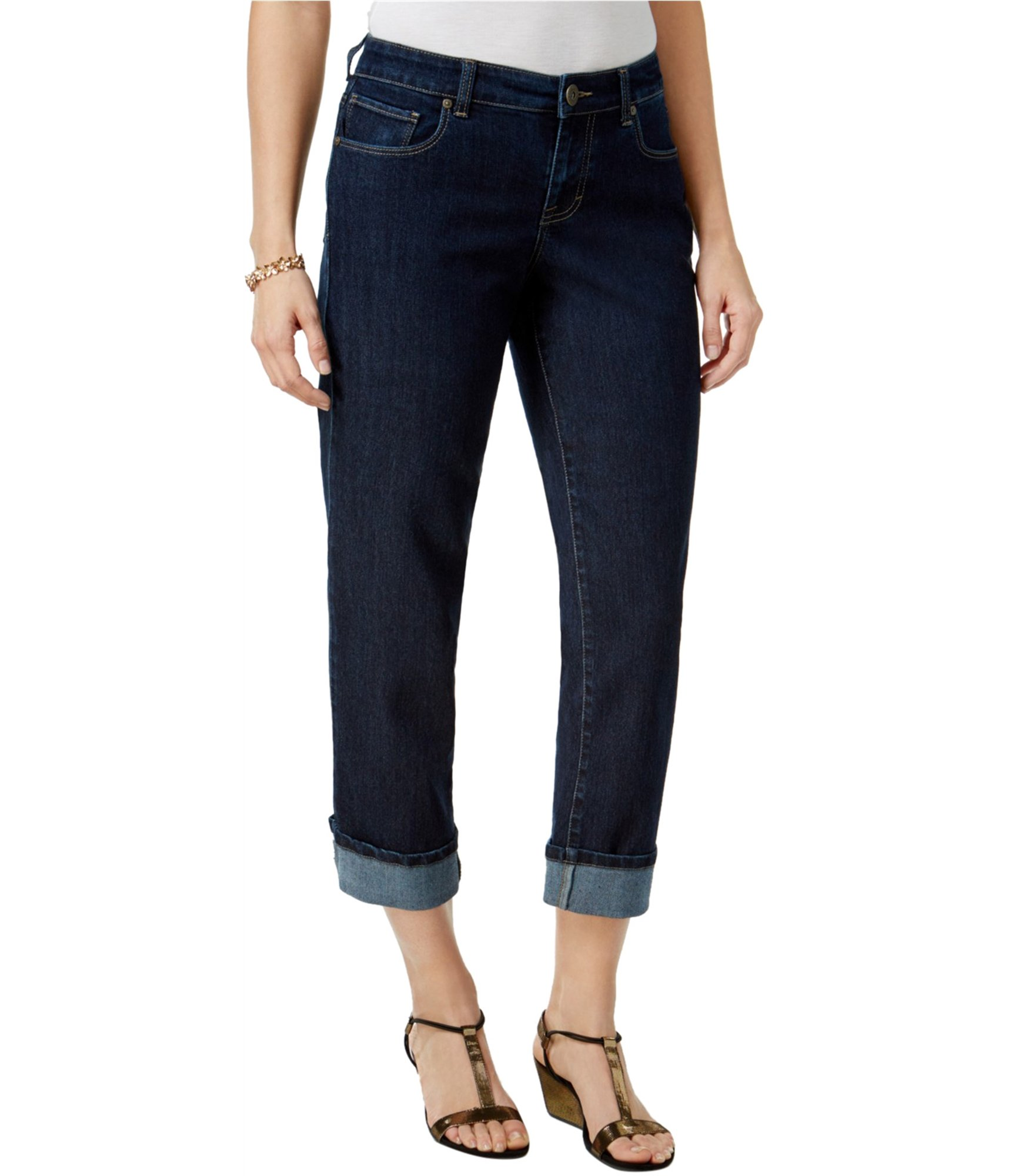 Style & Co. Curvy Cuffed Capri Jeans (Caneel, 6)