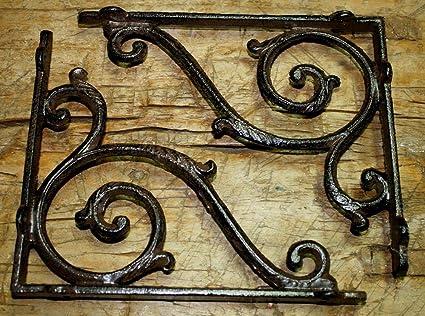 8 SMALL BROWN ANTIQUE-STYLE 4 SHELF BRACKETS CAST IRON rustic garden SCROLL Architectural & Garden Antiques