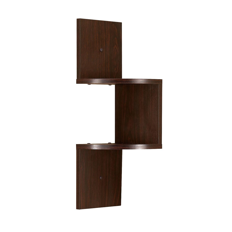 Danya B. QBA671SR1 Decorative Wall Decor - Floating 2-Tier Display Corner Shelf - Walnut Finish BNG Venture DB QBA671SR1