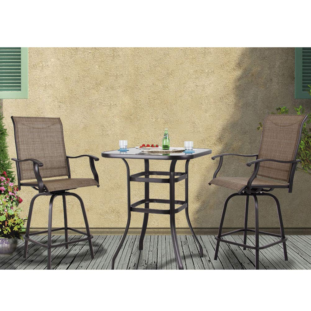 PHI VILLA Patio Bar Set 3 PCS Outdoor Furniture Swivel Chair Set 2 Bar Stools and 1 Table