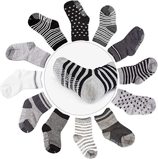 12 Pairs White Infant Baby Socks Non Skid with Grip Newborn 0-12 month