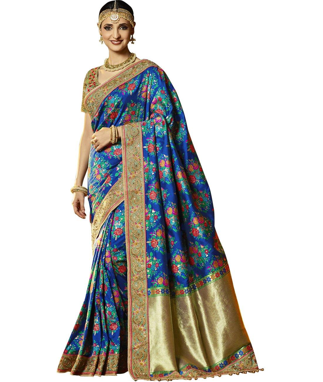 Maahir Garments Exclusive Indian Ethnicwear Banarasi Brocade Silk Royal Blue coloured Handloom Saree by Maahir Garments (Image #1)