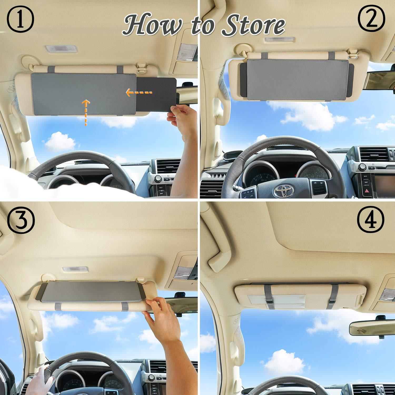 Car Visor Anti-glare Sunshade Extender for Front Seat Driver or Passenger 1 Piece WANPOOL Car Visor Sunshade grey