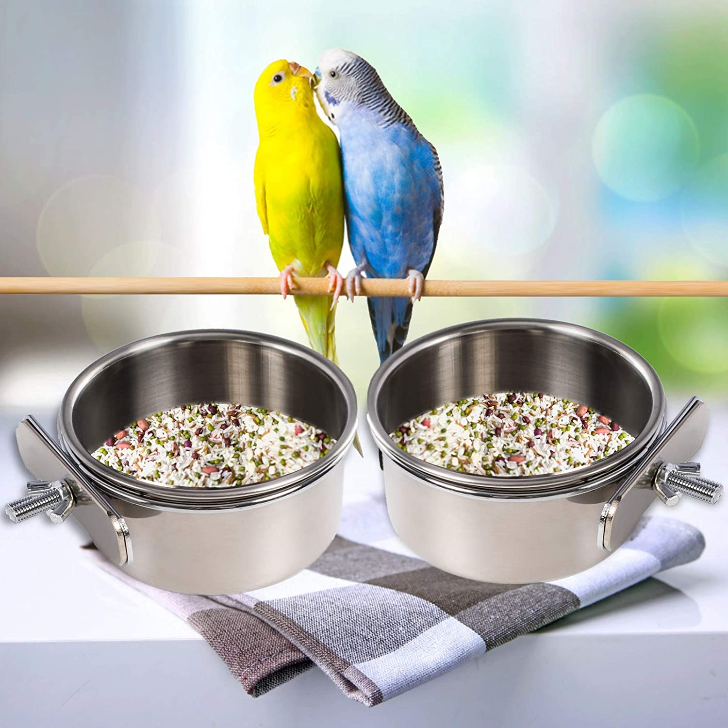 2PCS Parrot Feeder, Bird Feeding Dish Cups, Bird Bowl, Parrot Food Bowl, Bird Feeder for Cage, Feeding Coop Cups, Bird Cage Water Bowl for Small Animal, Parakeet , African Greys Conure, Cockatiels