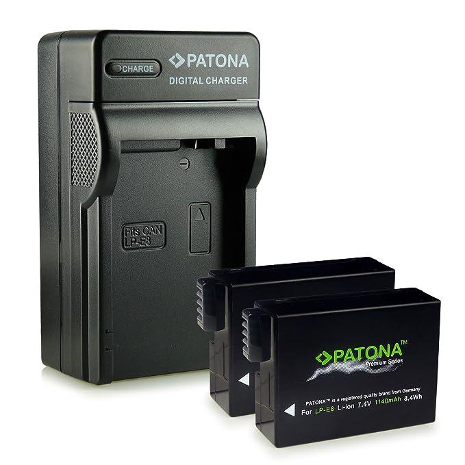 PATONA Cargador de batería doble LP-E8 para Bateria Canon EOS 550D EOS 600D EOS 650D EOS 700D con micro USB