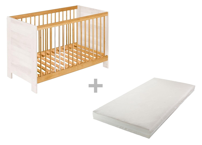 BioKinder Spar-Set Niklas Beistellbett Kinderbett Babybett mit Matratze aus Massivholz 60 x 120 cm Erle und weiß lasiert