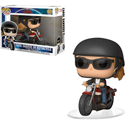 Funko POP! Ride Marvel: Captain Marvel - Carol Danvers on Motorcycle Toy, Standard, Multicolor: Toys & Games