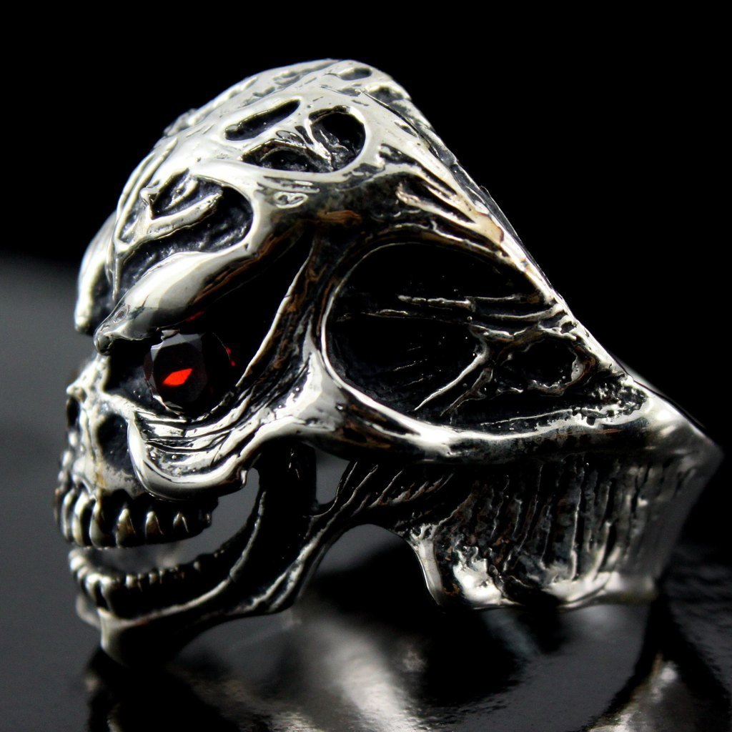c76a9be6c3301 Amazon.com: SKULL Ring 925 Sterling Silver Cz RED Eyes Stone Harley ...