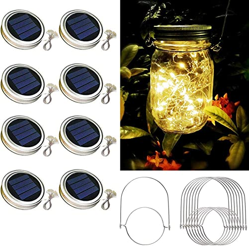 Solar Mason Jar Lid Lights,8 Pack 30 Led Lights Starry Fairy Firefly Jar Lights, Solar Lantern Lights for Outdoor Patio Garden Yard Wedding Decor,8 Hangers Included Jars Not Included Warm White