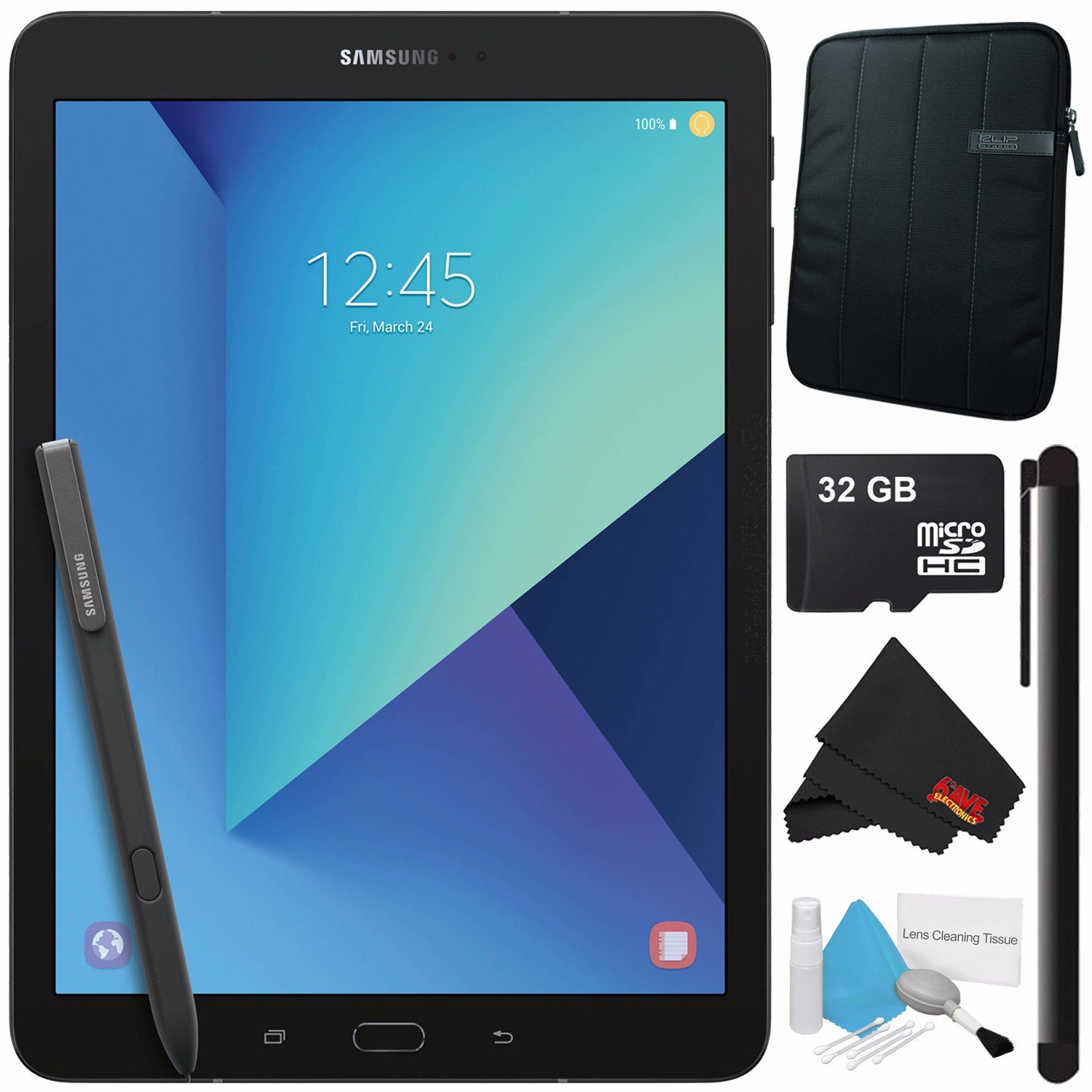 Samsung 32GB Galaxy Tab S3 9.7'' Wi-Fi Tablet (Black) SM-T820NZKAXAR + Universal Stylus for Tablets + Tablet Neoprene Sleeve 10.1'' Case (Black) + 32GB Class 10 Micro SD Memory Card Bundle