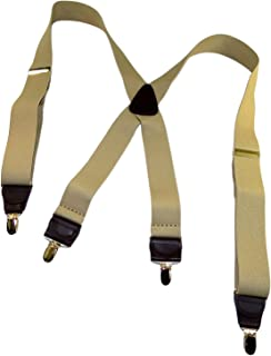product image for Hold Suspender Company's XL Sand Dunes light Tan Casual Suspenders in X-back and Patented Gold-tone no-slip Clips