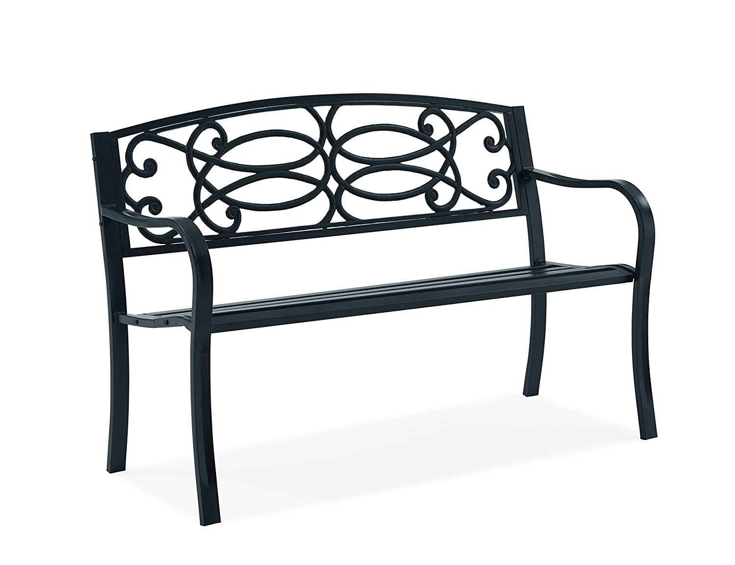Fineway  Stylish 2 Seater Cast Iron Garden Outdoor Back Park Bench Seat  Furniture - Loveseat Conservatory, Patio, Lawn or Garden Seat (Scroll  Design
