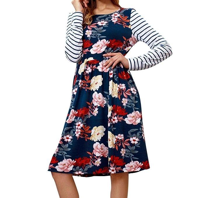 Teresamoon Women Fashion Long Sleeve Print Striped O-Neck Loose Casual Dresses