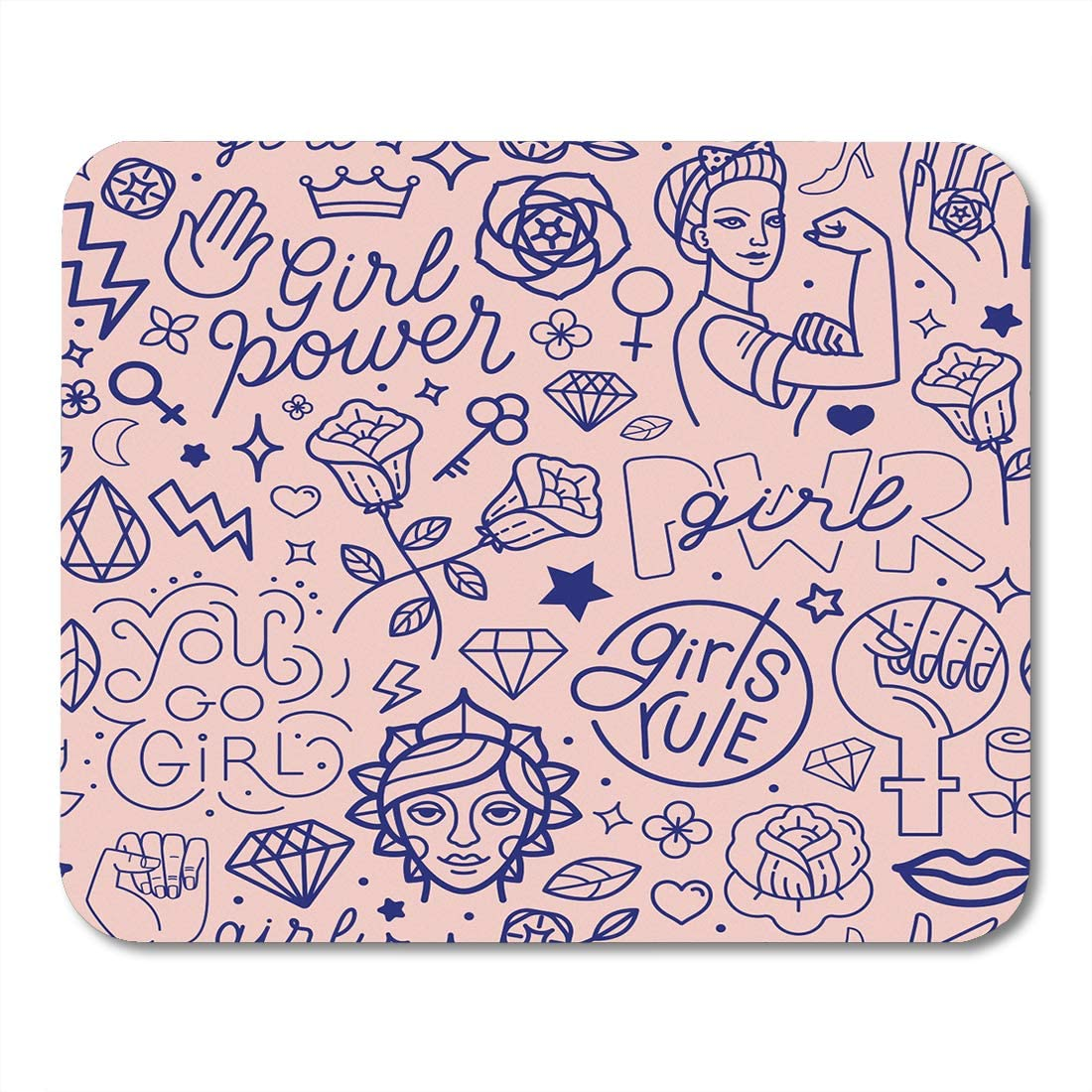 Emvency Mouse Pads Pink Pattern and Hand Lettering Phrases Related to Girl Power Feminist Movement Abstract Female Mouse pad 9.5 x 7.9 For Notebooks,Desktop Computers Mini Office Supplies Mouse Mats