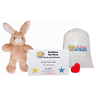 Make Your Own Stuffed Animal Mini 8 Inch Floppy Ear Bunny Kit - No Sewing Required!: Toys & Games
