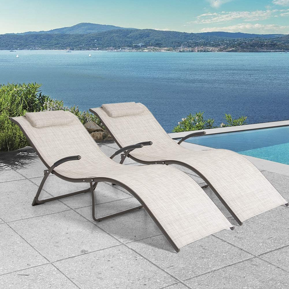 Crestlive Products Aluminium Patio Chaise Lounge Chairs, Outdoor Portable Folding Lounges with Pads, All Weather Furniture in Brown Finish for Lawn, Beach, Deck, Poolside Sunbathing(2 PCS Beige)