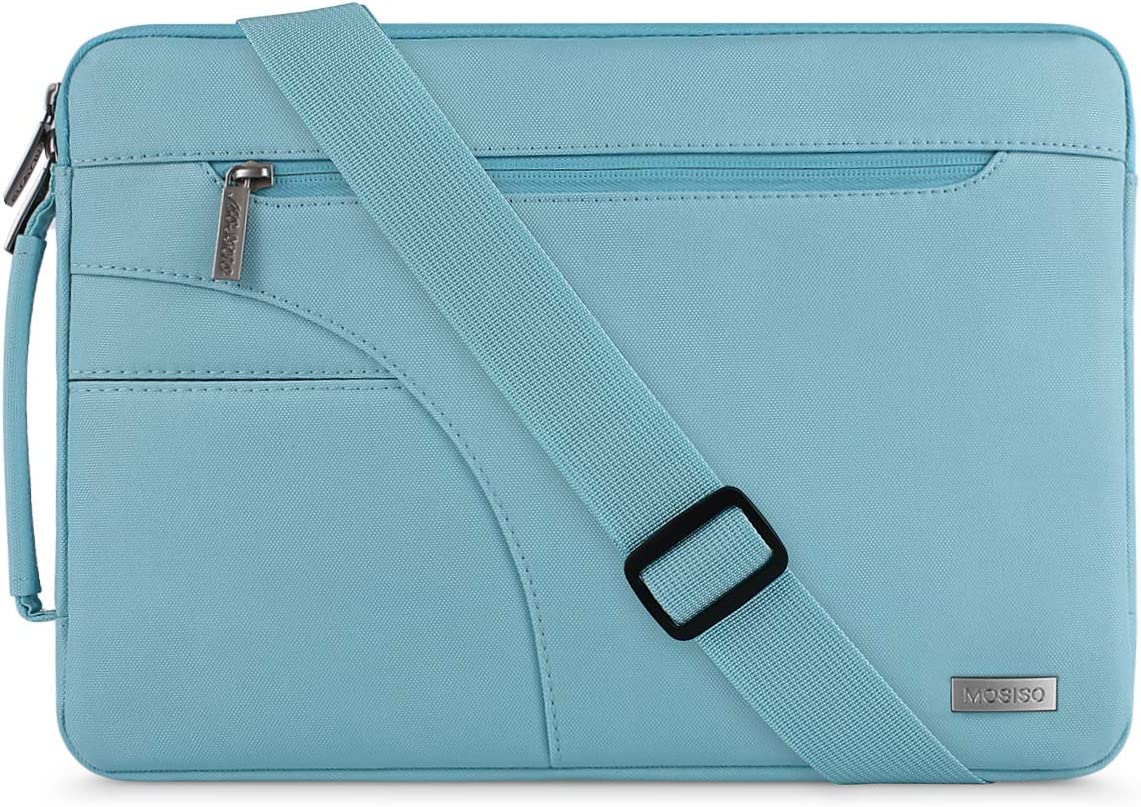 MOSISO Laptop Shoulder Bag Compatible with 13-13.3 inch MacBook Pro, MacBook Air, Notebook Computer, Polyester Briefcase Sleeve with Side Handle, Hot Blue